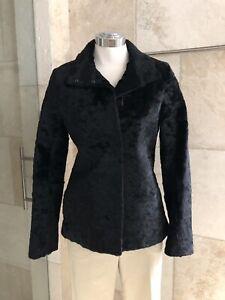 New $995 Theory Fur Coat Shiny Goat Black Size 2