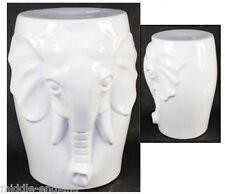 "CERAMIC ELEPHANT STOOL GARDEN SEAT WHITE 18""PORCELAIN SIDE TABLE LAMP STAND"