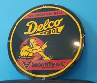 VINTAGE DELCO GASOLINE PORCELAIN MOTOR OIL SERVICE STATION PUMP PLATE SIGN