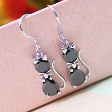 Earring Black Cat Silver Plated and Zirconia
