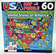 """USA Map Jigsaw Puzzle 60 Piece 8.75"""" x 11.25"""" Includes State Capitals"""