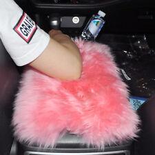 Car SUV Pink Sheepskin Wool Center Console Armrest Box Cover Pad Cushion Mat
