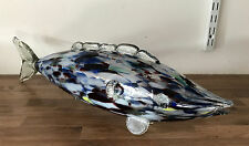 Large 52cm Vintage 1960s End of Day Style Murano Glass Fish White Blue Dark Red
