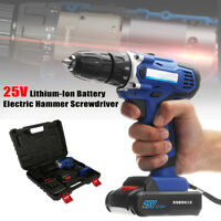 2pcs Battery 25V Rechargeable Cordless Drill Electric Screwdriver Driver Hammer