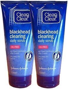 2 x Clean & Clear Blackhead Clearing Daily Scrub 150ml Oil Free Face Cleaner