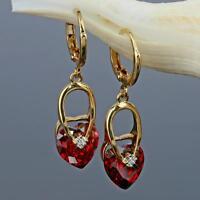 Luxus Herz Ohrringe Zirkonia Kristall Rot 750er Gold /18 Karat vergoldet O1264