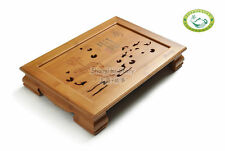 "Bamboo ""Lotus and Fish"" Gongfu Tea Table Chinese Serving Tray  15.7"" * 11.0"""