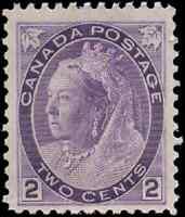 Canada #76 mint F-VF OG NH DG 1898 Queen Victoria 2c purple Numeral CV$45.00