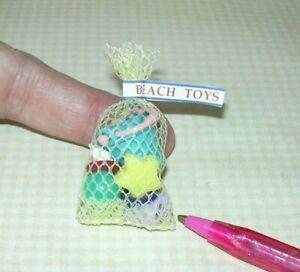 "Miniature Yellow Net Bag of Assorted ""Beach Toys"" (AQUA Pail): DOLLHOUSE 1:12"