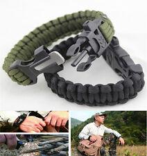 Survival Tactical Bracelet Outdoor Paracord Scraper Whistle Flint Fire Gear SY