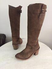 Steven by Steve Madden Brown Nubuck Leather Heel Boots Women's Size 9