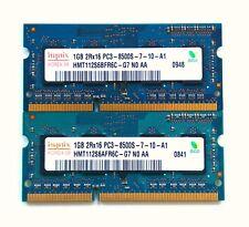 2 x 1gb = 2gb ddr3 SO-DIMM RAM 8500s 1066 MHz 204 pin Hynix per MacBook/Pro