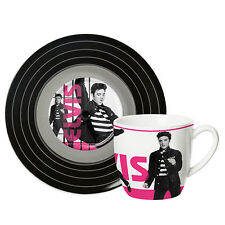 ELVIS PRESLEY CUP & SAUCER - Jail House Rock Design - Porcelain Tea Mug 250 mls