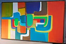 Vintage American Modern Abstract Oil Painting Cubist 20th c Designer Triola 1967