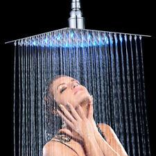 Chrome Wall/Ceiling Mount Shower Head LED Light 10 inch Top Sprayer Rainfall NEW