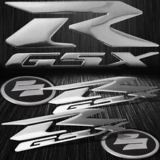 "6.25""Chrome ABS GSXR Logo Emblem+2.25""Brushed Metal Suzuki Fairing Badge Sticker"