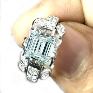 2.34 Ct VS1-Ice Blue Emerald Moissanite Diamond Engagement 925 Silver Ring