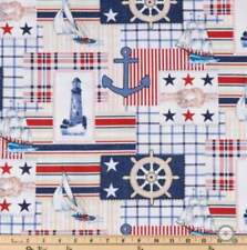 Nautical Anchor, Steering Wheel, Cotton Fabric,Fat Quarter,FQ 18