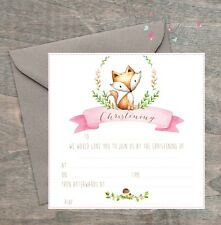 LITTLE FOX CHRISTENING Invitations -  Cute pink WOODLAND DESIGN - Pack of 8