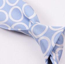 NWT $265 BATTISTI NAPOLI Hidden Pocket Silk Tie Sky Blue Ring Pattern