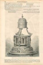Paris Palais de l'Industrie Horloge de Table Mouvement Horizontale GRAVURE 1869