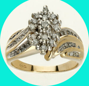 50CT diamond cluster cocktail ring YG 3 row wave 6.9 GM sz 7