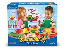 Kitchen Play Set Dishes Pots Pans Bowls Tea Pot Kids Toddler Boy Girl Gift NEW