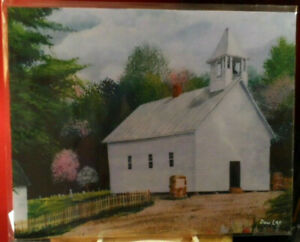 Cades Cove Primitive Baptist Church in the Spring w/ flowering trees 8x10 Print