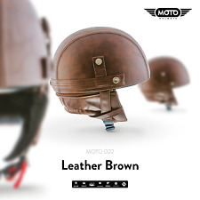 MOTO D22 LEATHER BROWN - CASQUE DEMI JET VESPA SCOOTER RETRO PILOT S M L XL XXL