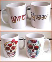 """HUBBY & WIFEY"" Printed Candy Skull Mugs"