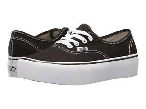 VANS Authentic Platform 2.0 Black Canvas Skate Sneaker Women Men's Black Shoes