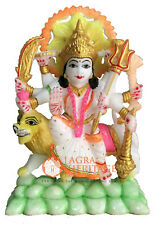 "7"" Italian Marble Durga Statue Hand Painted Art Traditional Gift Decor E1294"
