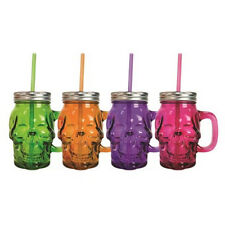 4 Coloured Skull Mason Style Drinking Jar, Lid & Straw Halloween Prop Tiki Mug