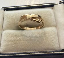 Lovely Ladies Fully Hallmarked Solid 9 Carat Gold Patterned Band Ring - N 1/2