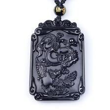 natural Obsidian Dragon Phoenix amulet pendants
