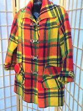 Vibrant Yellow Vintage Wool Plaid lined Coat Warm GUTOS buckle M L