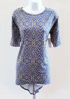 LulaRoe NWT Womens Size XS Blue Yellow Short Sleeve Irma Tunic Top