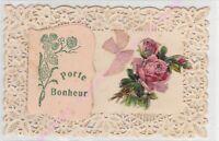CPA DECOUPIS CANIVET Porte bonheur bonne année ruban rose fleurs