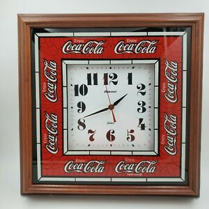 Vtg 1990's Hanover Quartz Coca Cola Wall Clock Battery Operated Tested Works