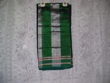 Vtg Indian Ethnic Silk blends Black south Indian Sari green check & Border Palav