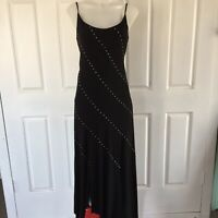 Liz Jordan Black Sequin Long Dress for Evening Wear Size 12 Spaghetti Straps