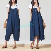Womens Casual Denim Suspender Skirt Dress Overall Straps Culotte Oversize Loose