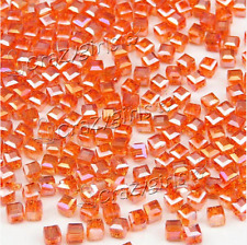 New 4/6/8mm AB Square Cube Cut Glass Crystal Spacer Beads For Jewery Making J