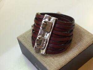 "Uno de 50 Large Red & Silver Plated Leather Wrap Bracelet ""Beach Bum"""