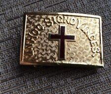 Vintage IN HOC SIGNO VINCES Red Cross Knights of Templar Belt Buckle Ultra Gold