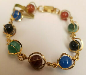 "Chakra Bracelet Mixed Round Glass Stone Gold Tone Wire Wrapped 7.5"""