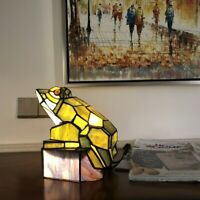 """Tiffany-Style Stained Glass Animal Frog Accent Lamp 9.5"""" H"""