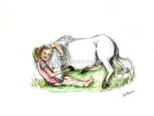 Original ink & watercolour painting art little girl & pony home decor pink blue