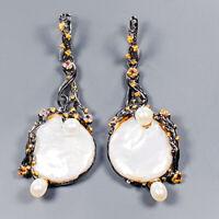 Baroque Pearl Earrings Silver 925 Sterling Handmade  /E42328