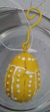 2 - Tin Easter Ornaments each 1.25 inch Eggs Yellow B39